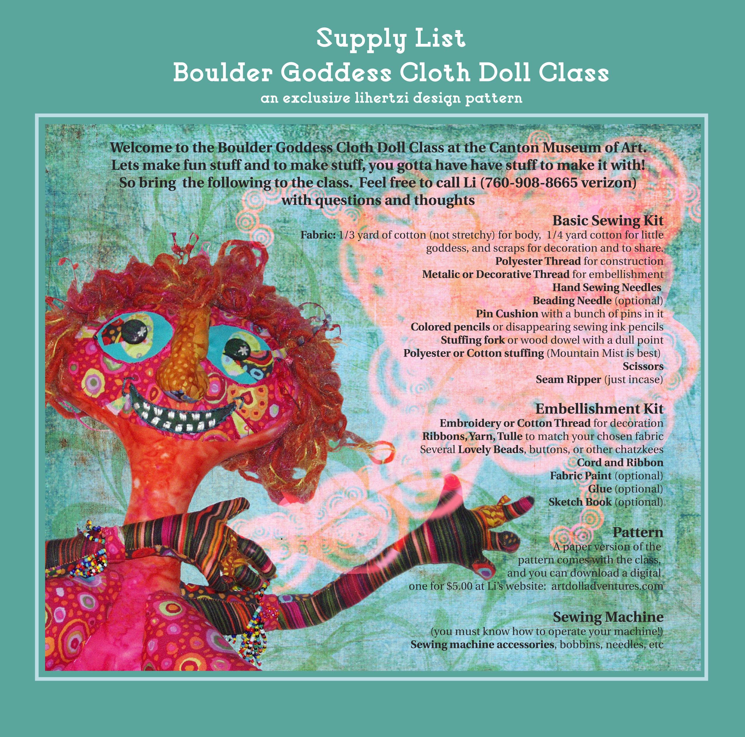 Materials List for Boulder Goddess Class at the CMA